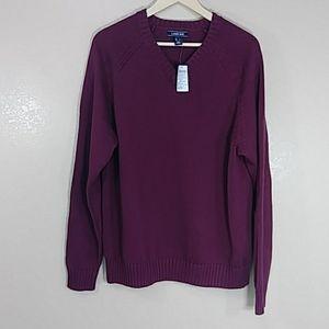 NWT LAND's END Burgundy  long Sleeve Sweater Sz L
